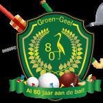 Lustrumlogo Groen-Geel 80 jaar schild